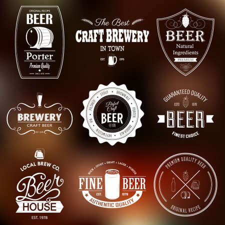 Set of black monochrome beer labels of different shapes. Vector illustration.