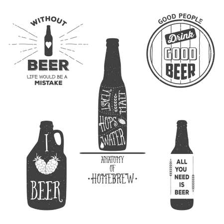 grunge bottle: Vintage craft beer brewery emblems, labels and design elements. Vector typography illustrations. For example, it can be printed on t-shirts. Illustration