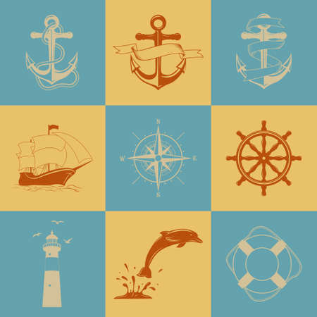 compass rose: Vector set of nine decorative nautical signs and icons Illustration