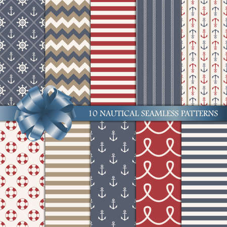 nautical: Set of ten nautical seamless patterns. Vector illustration. Illustration