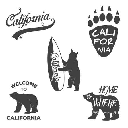 Vector vintage monochrome California badges and design elements for t shirt print. Typography illustrations. California Republic bear Illustration