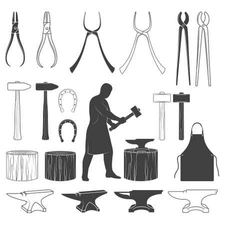 Set of vector monochrome vintage blacksmith icons and design elements Illustration
