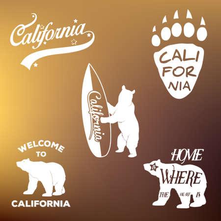 hollywood star: Vintage california republic t-shirt apparel fashion design and bear, vector illustration Illustration