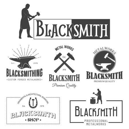 Set of vintage monochrome blacksmith labels and design elements. Vector illustration.