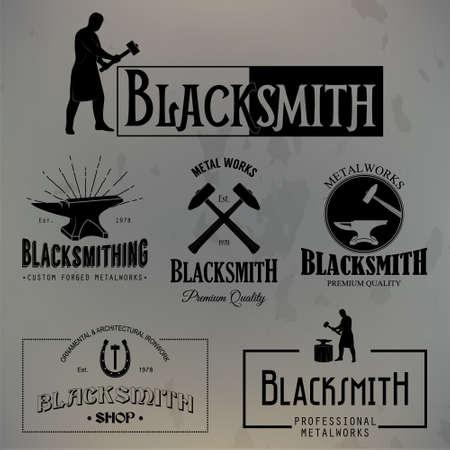 cast iron: Set of vintage blacksmith labels and design elements on a grunge background. Vector illustration.