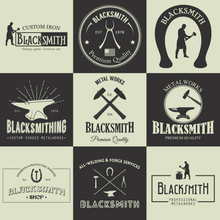 Vintage blacksmith labels, emblems and design elements. Vector illustration.