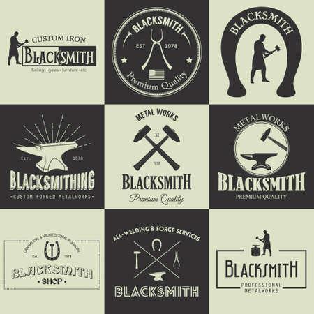 blacksmith shop: Vintage blacksmith labels, emblems and design elements. Vector illustration.