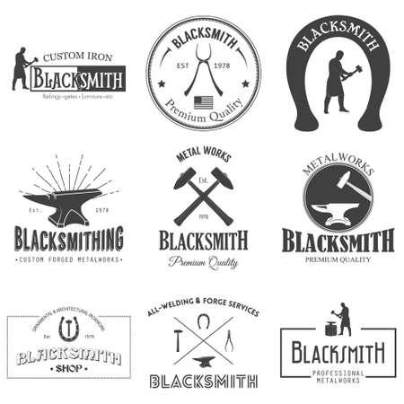 forge: Set of nine vintage blacksmith labels. Vector illustration.