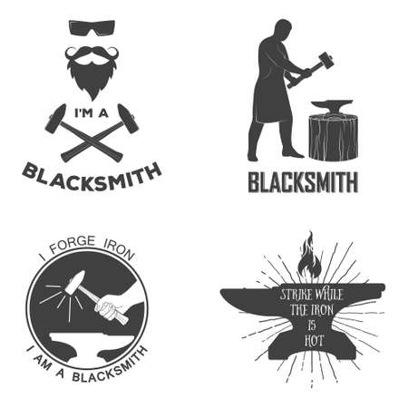 Vintage monochrome blacksmith badges and design elements. For example, it can be printed on t-shirts. Vector illustration. Stock Illustratie