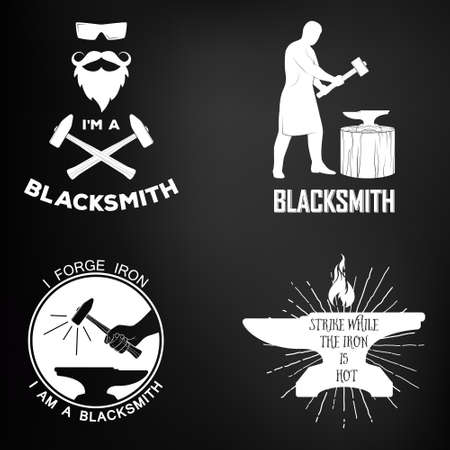 Vintage monochrome blacksmith badges and design elements. For example, it can be printed on t-shirts. Vector illustration. Illustration