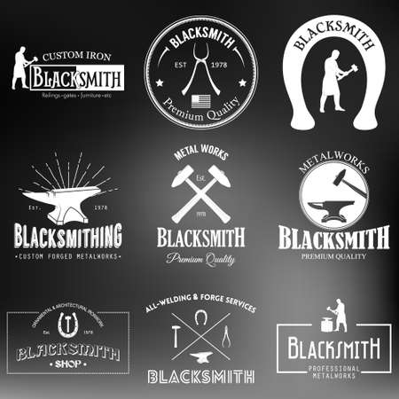 Set of monochrome vintage blacksmith labels and design elements on a blurred background. Vector illustration. Illustration