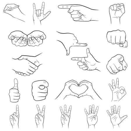 Set of hand gestures on a white background. Vector illustration.