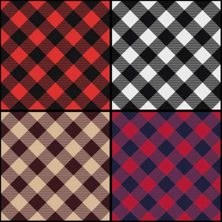 Lumberjack plaid diagonal seamless pattern set. Vector illustration. Stock Illustratie