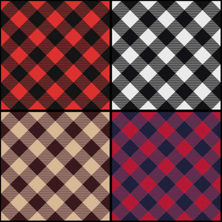 Lumberjack plaid diagonal seamless pattern set. Vector illustration. Ilustracja