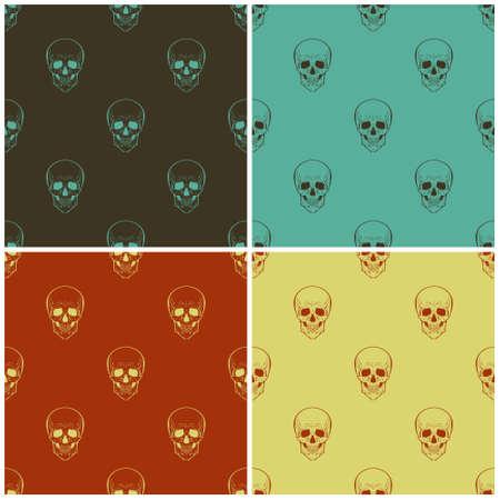 glum: Set of four vector seamless patterns with skulls