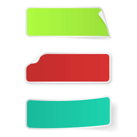 green banner: Bright multi-colored stickers label isolated on white background