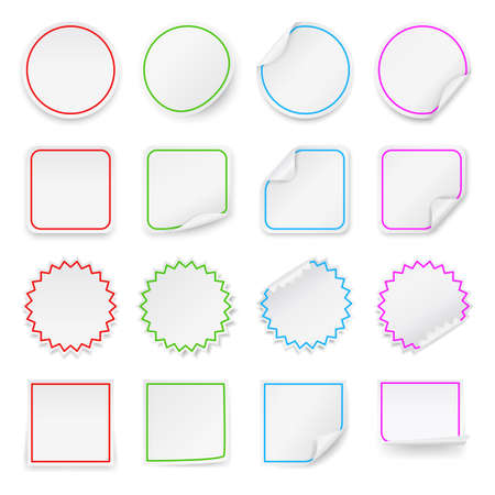 peeling corner: Set of vector blank stickers. Design templates for infographics and advertising.