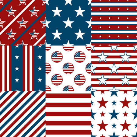 jack pack: Set Of Nine Patriotic Red, White and Blue Geometric Seamless Patterns.