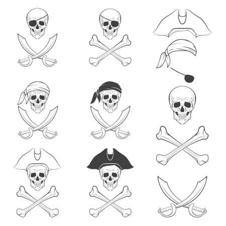 cocked hat: Jolly Roger in different versions. Monochrome vector illustration