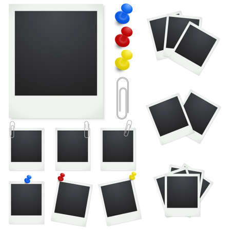 polaroid: Set Polaroid photo frames with clips and thumbtacks on white background. Vector illustration.