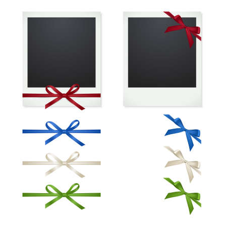 polariod frame: photo frames with clips and thumbtacks on white background. Vector illustration. Illustration