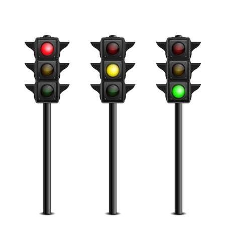 Three-dimensional full length traffic lights on white background. Vector illustration.