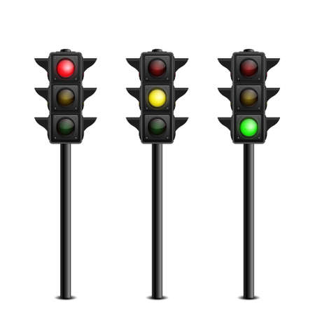 Three-dimensional full length traffic lights on white background. Vector illustration.