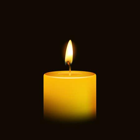 candela: Una fiamma di candela di notte del primo piano - isolato. Illustrazione vettoriale.