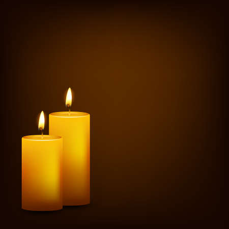Two burning candles on a dark background. Vector EPS10 illustration.