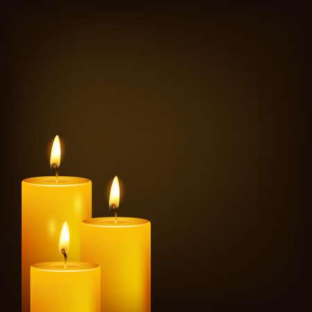luz de velas: Tres velas y fondo oscuro. Ilustración vectorial EPS10.