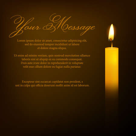 condolence: Vector funeral card with candle and place for text. EPS10 illustration.