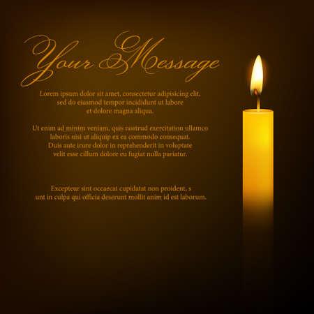 candela: Vector funerale carta con una candela e luogo per il testo. Illustrazione EPS10. Vettoriali