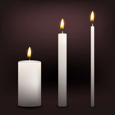 Realistic three vector white candles on a dark background. EPS10 illustration.