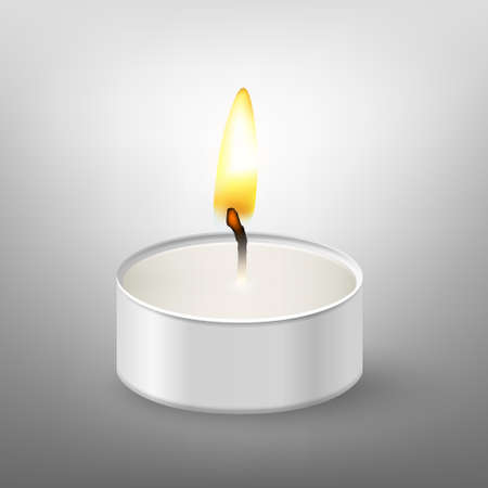 scented candle: Round candle. Tea or floating candles in an aluminum sleeve. Vector EPS10 illustration.