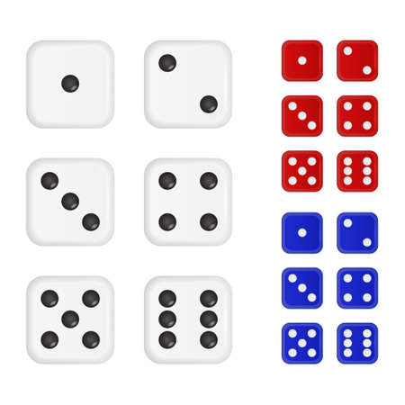 Set of dices in three different colors.