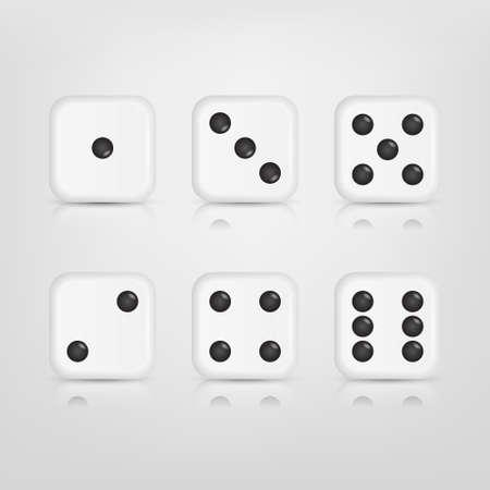 Vector EPS10 illustratie van een set van witte dobbelstenen met reflectie