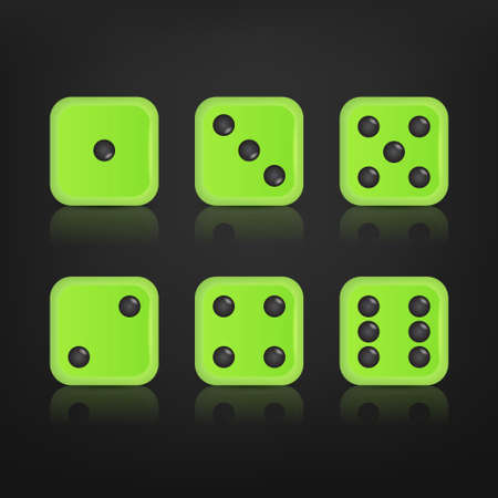 stake: Dice for games turned on all sides with all the numbers and with reflection. Numbers of dice, one, two, three, four, five, six. Vector eps10 illustration.