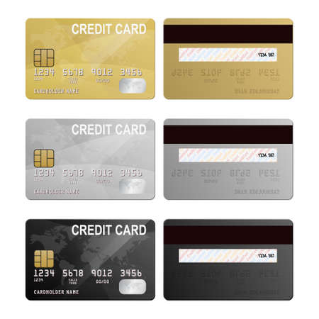 Set of realistic silver, gold and black vector credit card two sides. 向量圖像