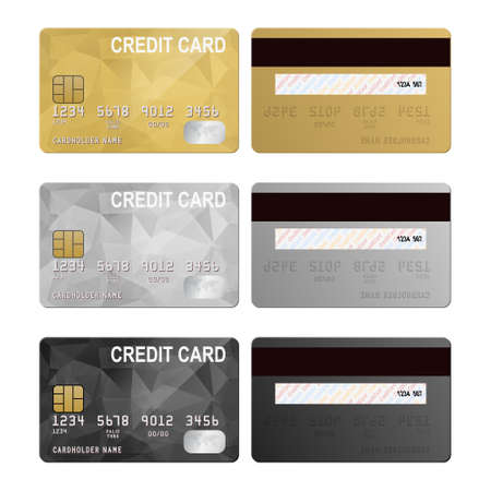 black and silver: Vector credit cards, front and back view. Vector EPS10 illustration.