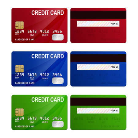 back view: Set of three credit cards - red, blue, green, front and back view. Vector EPS10 illustration.