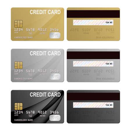 tarjeta de credito: Tarjetas de cr�dito realistas conjunto - oro, plata y negro. Ilustraci�n vectorial EPS10. Vectores