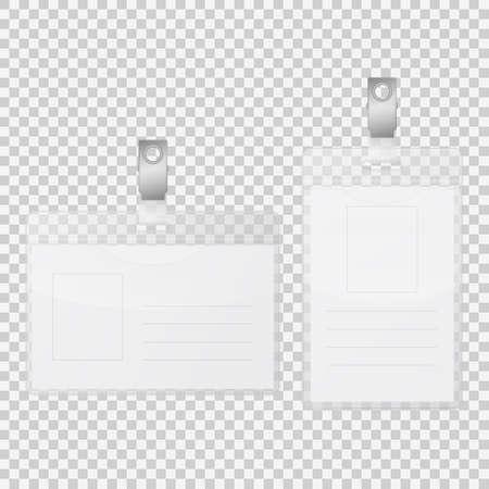 Realistic empty tag badge holder isolated on transparent background. Vector EPS10 illustration. Illustration