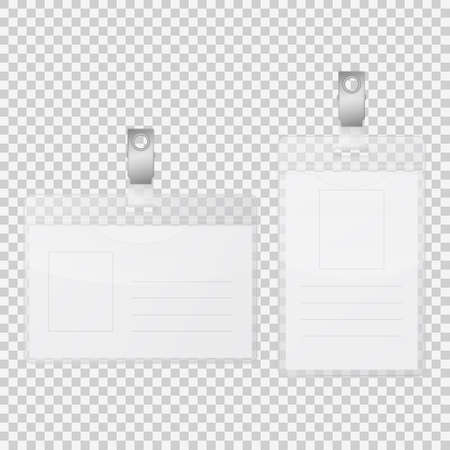 credential: Realistic empty tag badge holder isolated on transparent background. Vector EPS10 illustration. Illustration