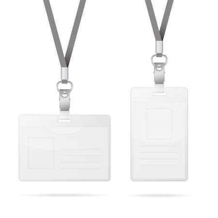 laminated: Lanyard with transparent empty vertical and horizontal tags badge holder isolated on white. Vector EPS10 illustration.
