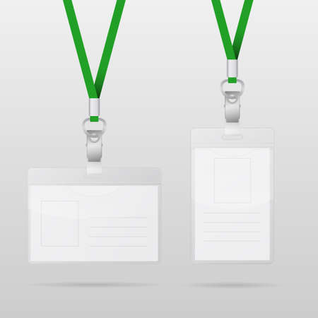 cardholder: Vector templates for name tag with green lanyards. Vector EPS10 illustration. Illustration