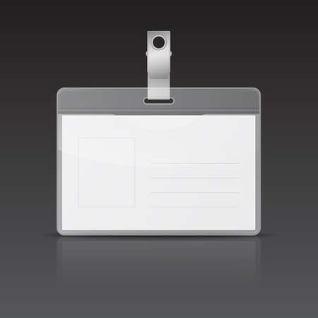 name badge: Realistic horizontal ID card with reflection on black background.
