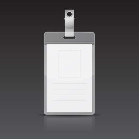 badge holder: Realistic Vertical Card Name or ID card with reflection on black background.