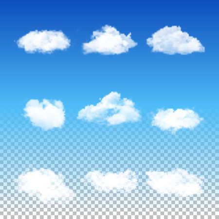 Set van negen realistische transparante verschillende wolken. Vector EPS10 illustratie. Stock Illustratie