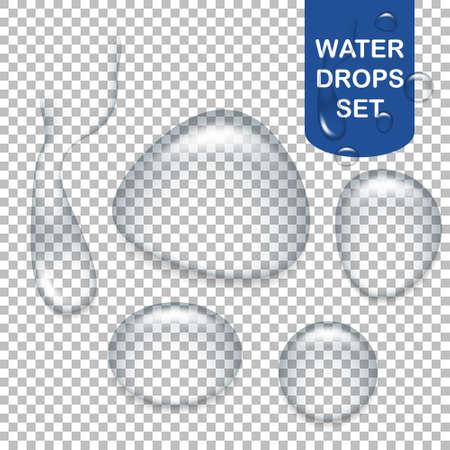 Set van realistische transparante waterdruppels.