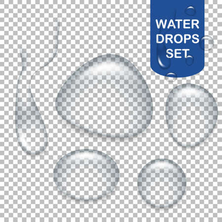 Set of realistic transparent water drops.  Illustration